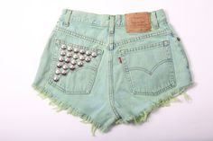 Vintage Studded Front and Back High Waisted Cutoff by CNTSHOP