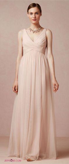 Simple Prom Dresses A Line V Neck Floor Length Tulle Cheap Under 200 Item Code:#JRPCZXN8J1