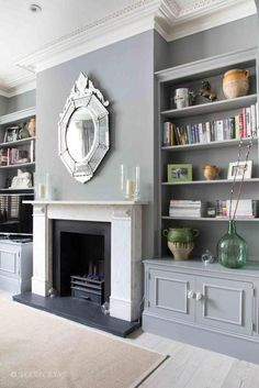 Living room ideas with fireplace lounges interior design 23 Ideas Living Room Shelves, Living Room With Fireplace, Living Room Grey, Home Living Room, Living Room Designs, Cozy Living, Small Living, Built In Cupboards Living Room, Alcove Ideas Living Room