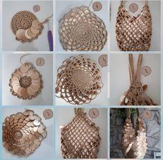 Foldable Net Bag Tahiti pattern by Fil Katia Crochet Diy, Crochet Tote, Crochet Handbags, Crochet Purses, Crochet Designs, Crochet Patterns, Hemp Yarn, Crochet Market Bag, Tote Pattern