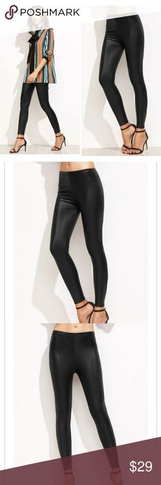 Back in stock💥BLACK FAUX LEATHER LEGGINGS Black faux leather leggings. Pair these leggings with a stiletto for a sexy look or pair it with sneakers for more of the trendy casual look. Pants Leggings