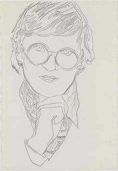 Andy Warhol 'David Hockney', 1974 © 2015 The Andy Warhol Foundation for the Visual Arts, Inc. / Artists Right Society (ARS), New York and DACS, London Andy Warhol Drawings, Art Drawings, David Hockney Portraits, Ligne Claire, Art Walk, Art Journal Inspiration, Famous Artists, Artist Art, Line Drawing