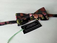 Bow tie- Silk Oriental Floral Freestyle Bow Tie-Handcrafted by HandsomeJimmy on Etsy