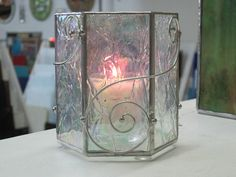 Iridized Stained Glass Candle Enclosure by RenaissanceGlass, $40.00