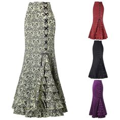 Women Gothic Long Steampunk Skirt Mermaid Maxi Fishtail Victorian Skirt 4 Colors | eBay