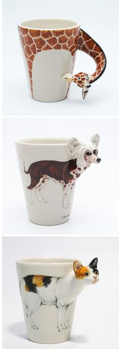 Animal mugs! Which is your favorite? Ceramic Cups, Ceramic Pottery, Pottery Art, Ceramic Art, Stars Disney, Cerámica Ideas, Animal Mugs, Clay Cup, Ceramic Animals
