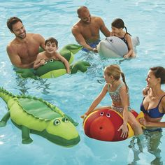 Like stuffed animals for the pool, these fun lightweight pool floats look like whimsical dolphins, frogs, fish, and alligators.