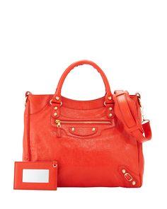 Giant 12 Velo Lambskin Bag, Red Orange - Balenciaga