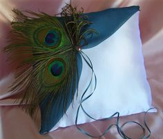 Peacock Wedding Accessory : Peacock Feathers and Teal Wedding Ring Bearer Pillow, Handmade Etsy Weddings