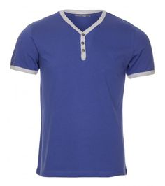 X Contrast Y Neck T Shirt Royal Blue