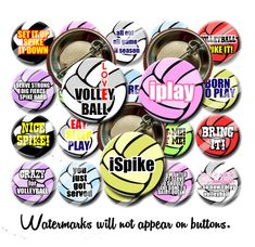 """/""""SPIKE/"""" LOT of 12 BUTTONS  pinback  TEAM  Volleyball  SPORTING GOODS STORE SALE!"""