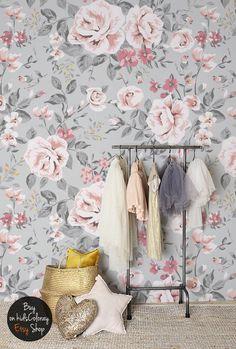 Vintage floral wallpaper,  Rose wall mural,  Nursery wallpaper,  Baby girl,  Kids wallpaper,  Peel and stick wallpaper  #68 by KidsColoray on Etsy https://www.etsy.com/listing/500451813/vintage-floral-wallpaper-rose-wall-mural
