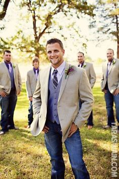 Country wedding groomsmen, jeans and a sports jacket Jeans Wedding, Wedding Wear, Wedding Bells, Our Wedding, Dream Wedding, Wedding Suits, Sports Wedding, Tuxedo Wedding, Church Wedding