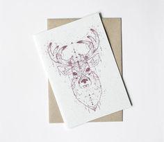 Weihnachtskarten - Weihnachskarte - geschmückter Hirsch - ein Designerstück von lumilarie bei DaWanda
