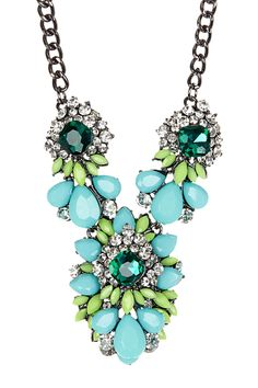 Bright! Green Bejeweled Necklace