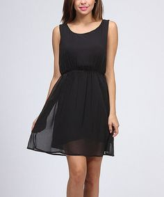 Take a look at this Black Gathered Waist Sleeveless Dress by BOLD & BEAUTIFUL on #zulily today!