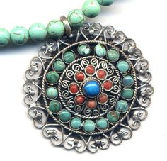 Mandala Necklace,Turquoise Mandala Pendant, Nepal Mandala, Buddhist Necklace,Tibet Necklace, Magnesite  Necklace, Nepal Jewelry by AnnaArt72. , via Etsy.