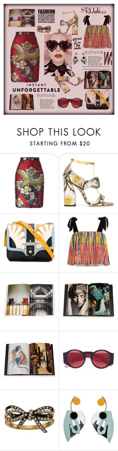 """""""Instant unforgettable- pattern mix"""" by zabead ❤ liked on Polyvore featuring Dsquared2, Gucci, Paula Cademartori, Saloni, WALL, Assouline Publishing, Givenchy, Marc Jacobs, Marni and Chanel"""