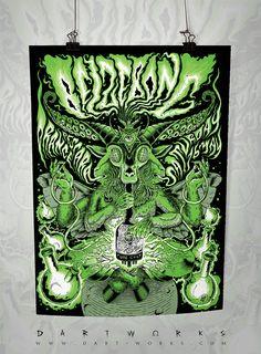 Belzebong gig poster by Dartworks, 2015