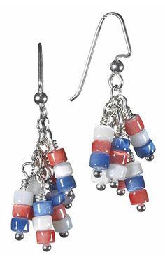 Earrings with Cat's Eye Fiver Optic Beads. Design by Sierra. #FMG Design Idea 01D2