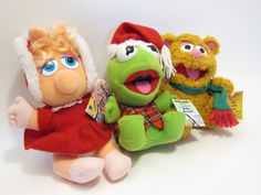 AFTER CHRISTMAS SAlE Vintage Baby Muppets Kermit the Frog Miss Piggy Fozzy Bear CHRiSTMAS TOYS 80s toy. I had all 3 of these at one point in my childhood!
