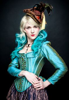 Isn't this corset jacket pretty in blue dupioni! Steampunk Corset Jacket by KMK Designs,llc.