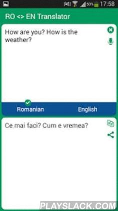 Romanian - English Translator  Android App - playslack.com ,  With this translator you can easily translate words and text from Romanian to English and from English to Romanian. You are able to translate words and even sentences, in just a split second.This translator contains the following features:- Translate words and sentences- Translate from clipboard- Simple and user-friendly interface- Instant search- Instant start- It helps to learn the language- Can be used as an dictionary- It…