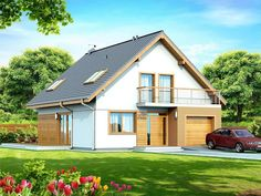 DOM.PL™ - Projekt domu DN DIONA BIS CE - DOM PC1-37 - gotowy koszt budowy Home Fashion, Small Towns, Facade, Outdoor Structures, House Design, Cabin, House Styles, Attic Rooms, Home Decor