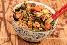 Quinoa Veggie Fried Rice- A healthy twist on Chinese take-out. Easy recipe