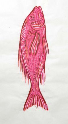 red snapper linocut by una dila arts