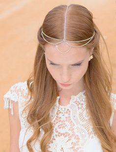 Boho Bridal Headband, Bridal Hairband, Bohemian Bridal Headpiece, Boho Head Piece, rhinestone forehead headband, Wedding Hair Accessory on Etsy, £70.05
