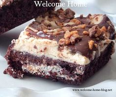 Cream Cheese Brownies with Toffee Topping!!