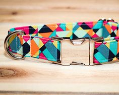 Dog Collar, Colorful, Mint, Turquoise, Navy Blue, Pink, Orange, Geometric, with Metal Buckle