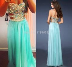 Find More Evening Dresses Information about Sparkling Crystal  Strapless Mint Green Long Formal Evening Dresses 2015 Chiffon Long Open Back Sexy Evening Gown Custom Made,High Quality Evening Dresses from Amanda's Dress House on Aliexpress.com
