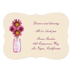 """Pink Flowers Mason Jar Reception Card 5"""" X 7""""  Invitation Card http://www.zazzle.com/pink_flowers_mason_jar_reception_card_invitation-161763565516429098?printquality=4color&rf=238271513374472230  #wedding"""