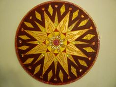 Root chakra 60cms diameter on canvas with gems £100