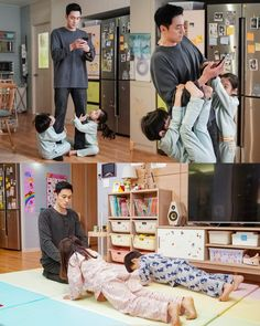 So Ji Sub with kids. Latest stills for Terius Behind Me sees our super spy go from killing the baddies to minding the kiddies. Korean Drama List, Korean Drama Funny, Korean Drama Movies, Korean Actors, Korean Dramas, So Ji Sub, Kdrama, Cute Asian Babies, Oh My Venus