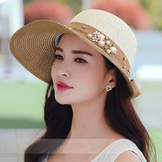 Fashion bow straw hat for summer beach UV package sun hats wide brim