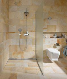 Duschelement Mit Duschrinne In Offener Dusche Bodengleich Befliest