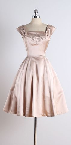 1950s Ellen Kaye Satin Soutache Cocktail Dress