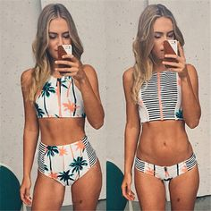 Print Floral Palm Tree Bikini Set,High Neck Tank Zipper Striped Swimsuit Padded Bra High Waist Swimwear