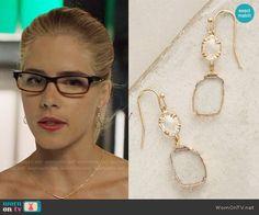 Felicity's earrings on Arrow. Outfit Details: https://wornontv.net/80842/ #Arrow
