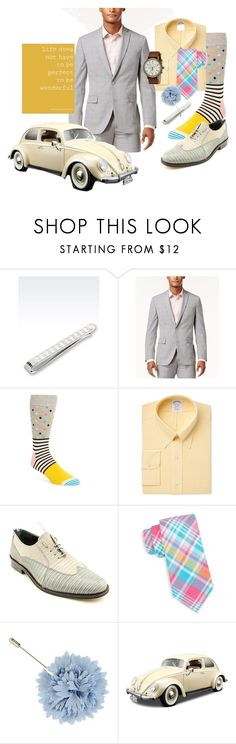 """You're Wonderful"" by quicherz ❤ liked on Polyvore featuring Bar III, Happy Socks, Brooks Brothers, Giorgio Brutini, Saddlebred, Lanvin, Bburago, Timex, men's fashion and menswear"