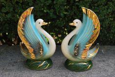 1950s Mid Centruy Swan Vases Emerald Green by GoodSoulVintageMI, $38.00