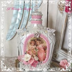 Altered bottle, Shabby chic, embellished with jewels, up cycled, pink & white, pearls and roses, Paris, cottage decor