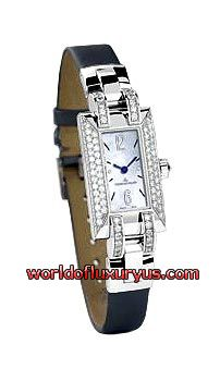 JAEGER-LECOULTRE - IDEALE CADRAN SERTI - (WHITE GOLD / MOTHER OF PEARL DIAL / GREY SATIN STRAP)