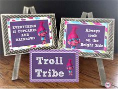 Troll Party Signs Set - Large Circles, Party Decorations, Trolls, Troll Movie, instant download, party signs, 10 signs, printable, decor by AtoZparties on Etsy