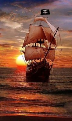 Pirate Ship Sailing on the Evening Sea, Pirate Art, Pirate Life, Pirate Ships, Pirate Crafts, Lady Pirate, Bateau Pirate, Old Sailing Ships, Sailing Boat, Black Sails