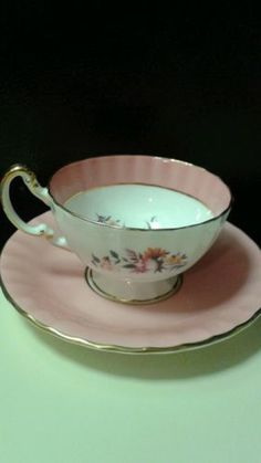 Aynsley Bone China Pink & White Cup and Saucer in Pottery & Glass | eBay