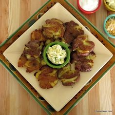 Roasted Smashed Potatoes with Garlic Chive Butter
